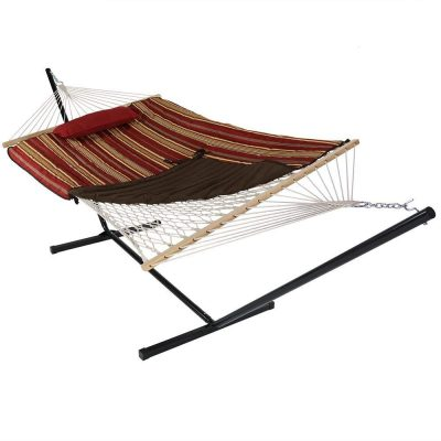 Sunnydaze Cotton Rope Hammock with Portable Steel Stand of 12 Foot: