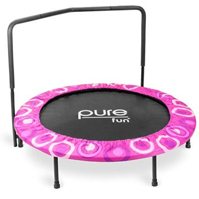 Pure Fun Super Jumper Kids Trampoline with Handrail: