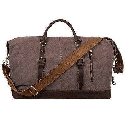 3. S-ZONE Oversized Canvas Genuine Leather Trim Travel Tote Duffel Shoulder Handbag Weekend Bag: