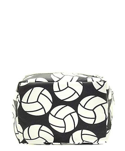N. Gil Large Travel Cosmetic Pouch Bag (Volleyball Black):
