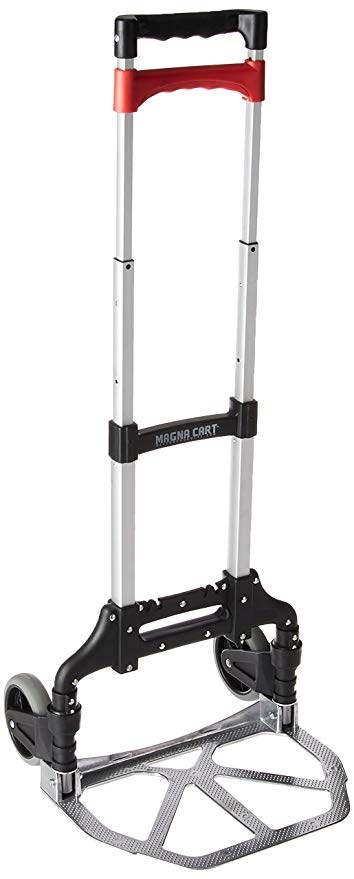 Magna Cart Personal 150 lb Capacity Aluminum Folding Hand Truck (Black/Red):