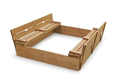 Badger Basket Covered Convertible Cedar Sandbox with Bench Seats: