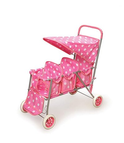 Badger Basket Triple Doll Stroller - Pink Polka Dots: