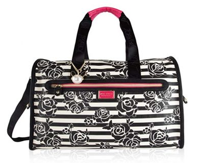 Betsey Johnson Quilted Heart Carry On Weekender Travel Duffel Bag: