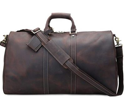 Polare Duffle Full Grain Leather Weekender Travel Duffel luggage Bag: