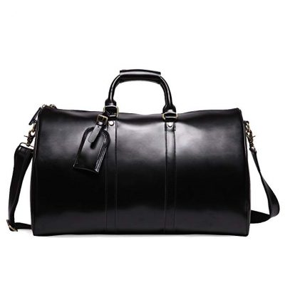 Leathario Mens Genuine Leather Overnight Travel Duffle Overnight Weekender Bag: