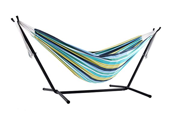 Vivere Double Cotton Combo Hammock with Stand: