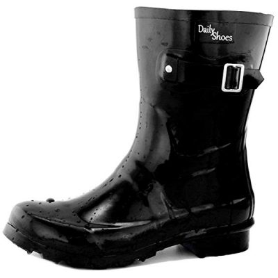 DailyShoes Women's Mid Calf Buckle Ankle High Hunter Rain Round Toe Rainboots: