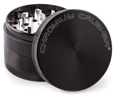 Chromium Crusher 1.6 Inch 4 Piece Tobacco Spice Herb Grinder – Black: