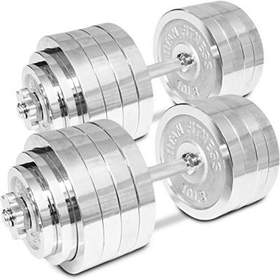 Titan-Adjustable-Weight-Chrome-Dumbbells-Set-200-lbs-Pair-100-lbs-Dumbbell-x-2pcs-Fitness-Strength-Training