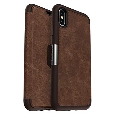 OtterBox STRADA SERIES Case for iPhone Xs Max - Retail Packaging - ESPRESSO (DARK BROWN/WORN BROWN LEATHER):