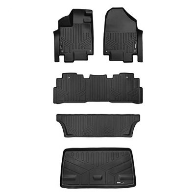 SMARTLINER Floor Mats (3 Rows) and Cargo Liner Behind 3rd Row Set Black for 2021-2021 Honda Odyssey by MAX LINER: