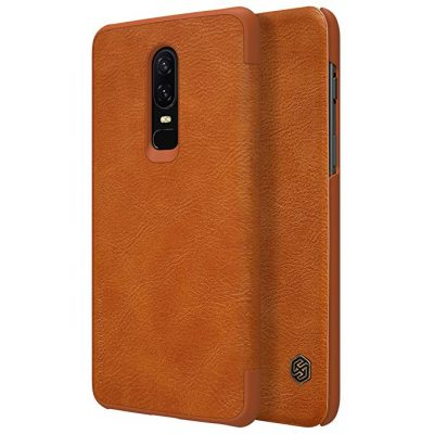 Oneplus 6 Case, Nillkin Qin Series [Flip Up] Cover Durable Slim PU Leather Wallet Case[with Card Holder] for Oneplus 6 - Brown by Nillkin: