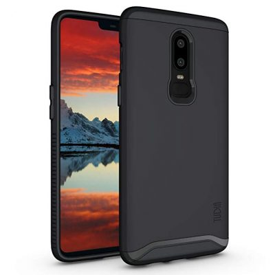 OnePlus 6 Case, TUDIA Slim-Fit HEAVY DUTY [MERGE] EXTREME Protection/Rugged but Slim Dual Layer Case for OnePlus 6 (Matte Black) by TUDIA: