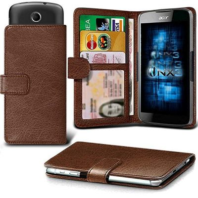 ONX3 (Brown) Samsung Galaxy A7 (2017) Case Universal Adjustable Spring Wallet ID Card Holder with Camera Slide and Banknotes Slot: