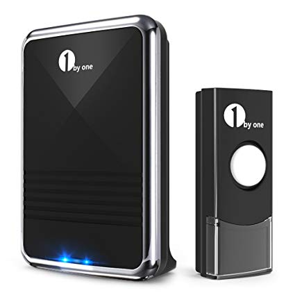 10 1byone Easy Chime Wireless Doorbell Kit, 1 Receiver & 1 Push Button with Sound and LED Flash: