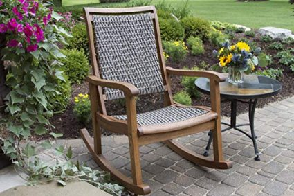 Outdoor Interiors Resin Wicker and Eucalyptus Rocking Chair, Brown and Grey: