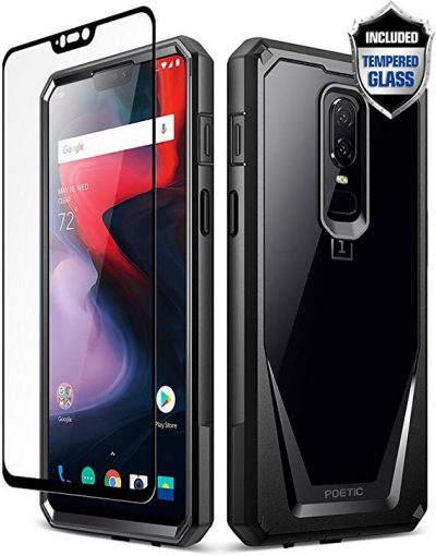 3. OnePlus 6 Case, Poetic Guardian [Scratch Resistant] [360 Degree Protection] Full-Body Rugged Clear Bumper Case [with Tempered Glass] for OnePlus 6 - Black by Poetic: