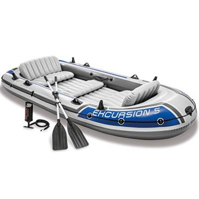 3. Intex Excursion 5, 5-Person Inflatable Boat Set with Aluminum Oars and High Output Air Pump (Latest Model):