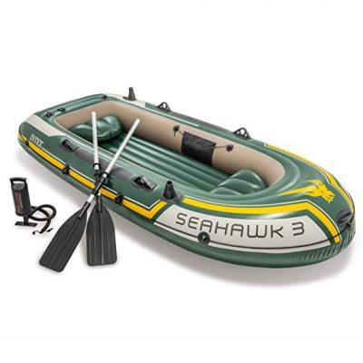 Intex Seahawk 3, 3-Person Inflatable Boat Set with Aluminum Oars and High Output Air Pump (Latest Model):