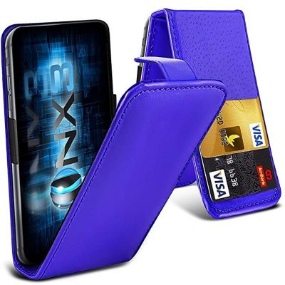 ONX3 (Blue) Samsung Galaxy A7 (2017) Universal Luxury Style Folding PU Leather Spring Clamp Holder: