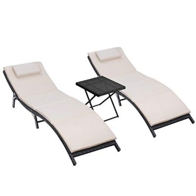 Homall 3 Pieces Outdoor Chaise Lounge Chair Patio Poolside Furniture Set: