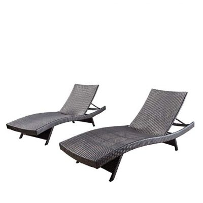 Christopher Knight Home 294919 Lakeport Outdoor Adjustable Chaise Lounge Chair (Set of 2):