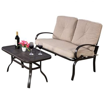 Giantex 2 Pcs Patio Outdoor LoveSeat Coffee Table Set Furniture Bench Cushion: