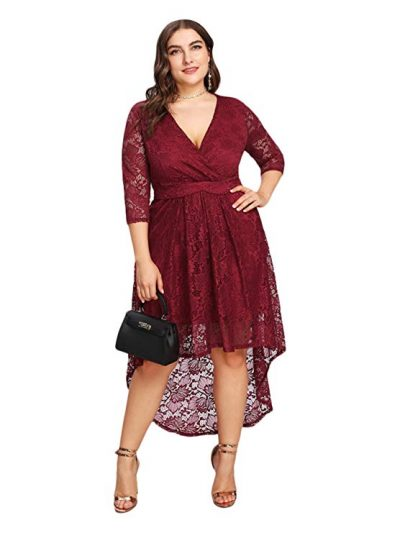 GMHO Women's Plus Size Floral Lace Off-The-Shoulder Cocktail Formal Swing Dress: