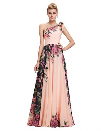GRACE KARIN Floral Print Graceful Chiffon Prom Dress for Women (Multi-Colored):
