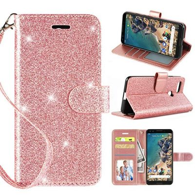Casekey Compatible with Google Pixel 3 Wallet Case, [Kickstand] [Card Slots] [Wrist Strap] 2 in 1 Glitter Magnetic Flip PU Leather Full Coverage Wallet Cover for Google Pixel 3,Rosegold:
