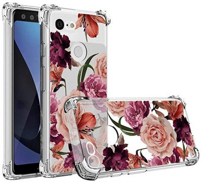 Google Pixel 3 Case,Pixel 3 Flower Case,Mustaner Shock-Absorption Flexible TPU Rubber Soft Silicone Full-Body Protective Cover for Google Pixel3 (Clear Flower) by Osophter: