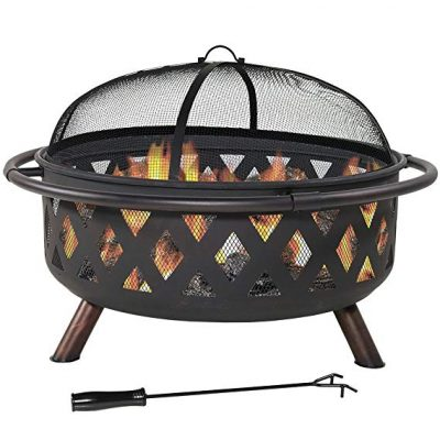 Sunnydaze Large Crossweave Outdoor Fire Pit with Spark Screen and Poker, Wood Burning Patio Firepit Bowl: