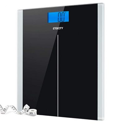 Etekcity Digital Body Weight Bathroom Scale with Step-On Technology, 400 Pounds, Body Tape Measure Included, Elegant Black: