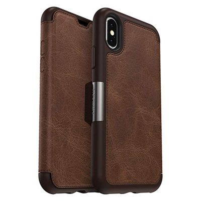 OtterBox STRADA SERIES Case for iPhone Xs & iPhone X - Frustration Free Packaging - ESPRESSO (DARK BROWN/WORN BROWN LEATHER):