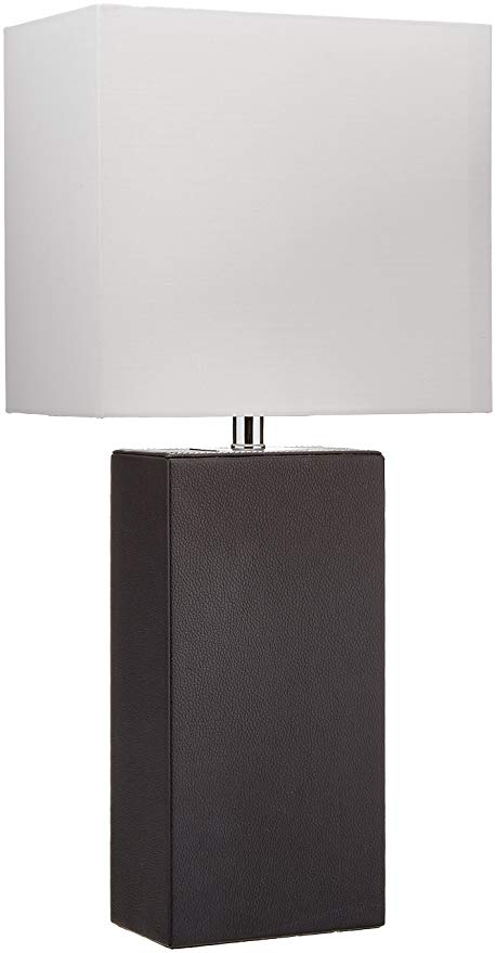 "3. Elegant Designs LT1025-BLK Genuine Leather Table Lamp, 10"" x 6"" x 21"", Black:"