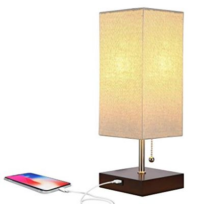Brightech Grace LED USB Bedside Table & Desk Lamp – Modern Lamp with Soft:
