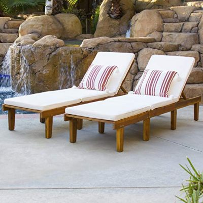 Best Choice Products Outdoor Patio Poolside Furniture Set of 2 Acacia Wood Chaise Lounge: