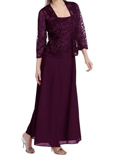 3. Womens Long Mother of The Bride Evening Formal Lace Dress with Jacket: