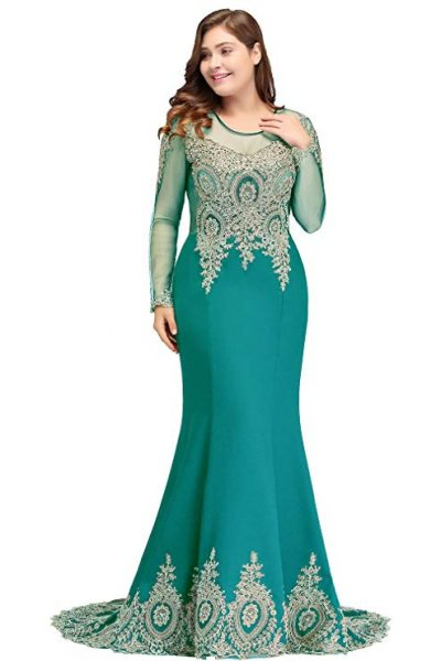 MisShow 2020 Long Sleeve Plus Size Mermaid Formal Evening Dresses for Women: