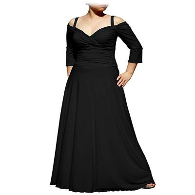 EVANESE Women's Plus Size Elegant Long Formal Evening Dress with 3/4 Sleeves: