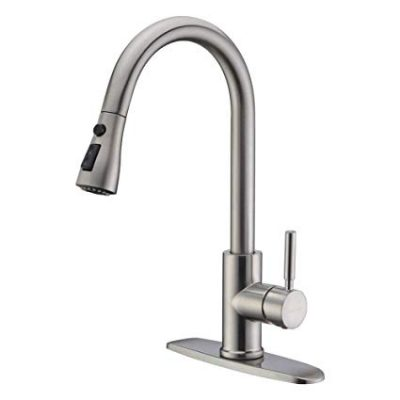 WEWE Single Handle High Arc Brushed Nickel Pull out Kitchen Faucet: