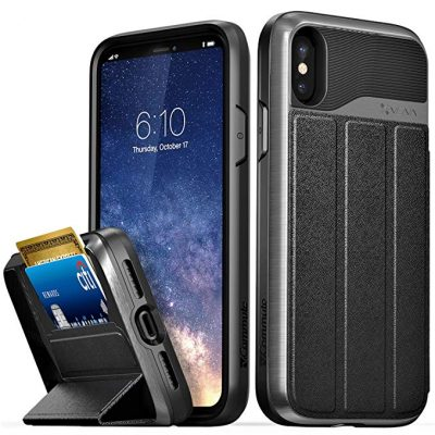"""Vena iPhone Xs/X Wallet Case, [vCommute][Military Grade Drop Protection] Flip Leather Cover Card Slot Holder with Kickstand for Apple iPhone Xs 2020 / X 2017 5.8"""" (Space Gray/Black):"""