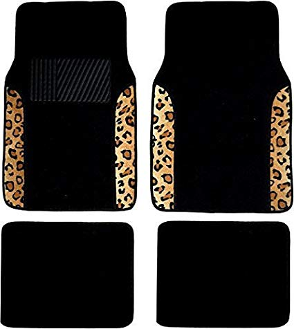 Two Tone 4 Piece Animal Print Floor Mats (Black and Brown Leopard by Unique Imports: