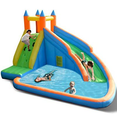 Costzon Inflatable Slide Bouncer, Water Pool Slide Climber Castle Bounce House (Without Blower):