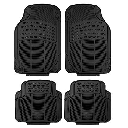 FH Group F11305BLACK Black All Weather Floor Mat, 4 Piece (Full Set Trimmable Heavy Duty):