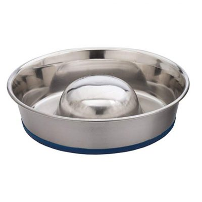Our Pets DuraPet Slow Feed Premium Stainless Steel Dog Bowl: