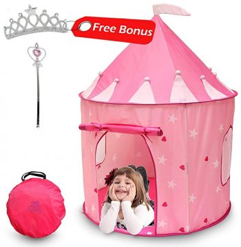Kiddey Princess Castle Play Tent (Pink) - With Glow in the Dark Stars – Indoor/Outdoor Playhouse for Girls: