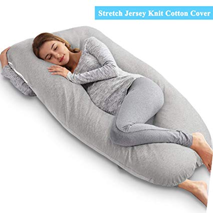 AngQi Unique U Shaped Full Pregnancy Body Pillow with Jersey Knit Removable Cover: