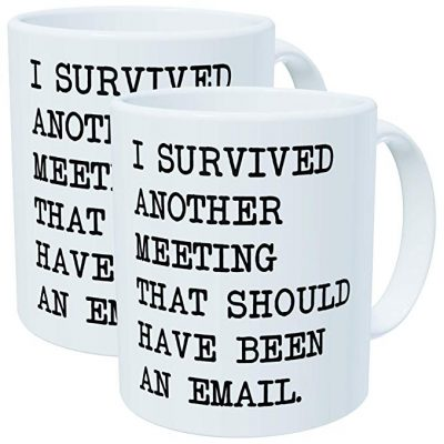 11. Pack of 2 - I survived another meeting that should have been an email - 11OZ ceramic coffee mugs - Best funny and inspirational gift by Whoisyourdaddy: